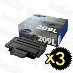 Samsung MLT-D209L Black 3 Pack Genuine Toner Cartridge