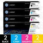 HP 206X (W2110X-W2113X) High Yield 8 Pack Genuine Toner Cartridge Combo
