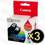 Canon PG510CL511CP (PG-510, CL-511 - Twin Pack) 6 Pack Genuine Inkjet Cartridges Combo