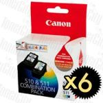 Canon PG510CL511CP (PG-510, CL-511 - Twin Pack) 12 Pack Genuine Inkjet Cartridges Combo