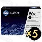 HP 80X (CF280X) Black High Yield 5 Pack Genuine Toner Cartridge