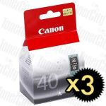 Canon PG-40 Black 3 Pack Genuine Inkjet Cartridge