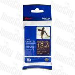 Brother TZe-RN34 12mm Gold Text on Navy Blue Genuine Ribbon Tape